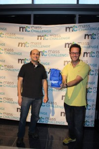 Zeke and Sebastian displaying miniPCR at MassChallenge